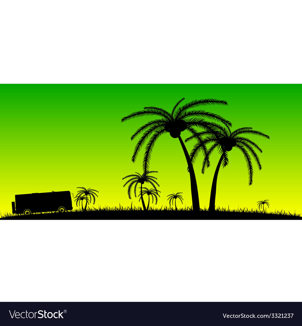 Coconut palms in the nature color vector | Price: 1 Credit (USD $1)