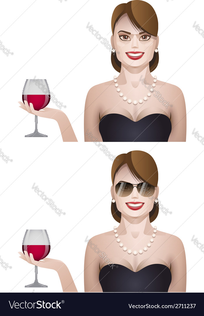Elegance cute young woman with glass of wine vector | Price: 1 Credit (USD $1)