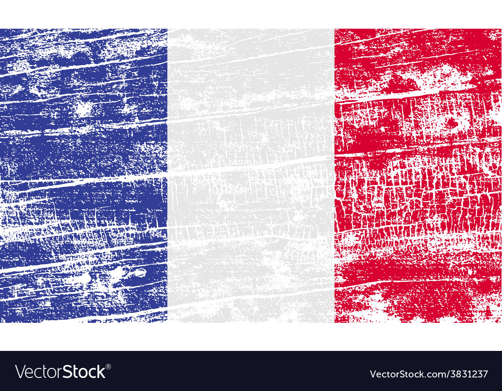 Flag of france with old texture vector