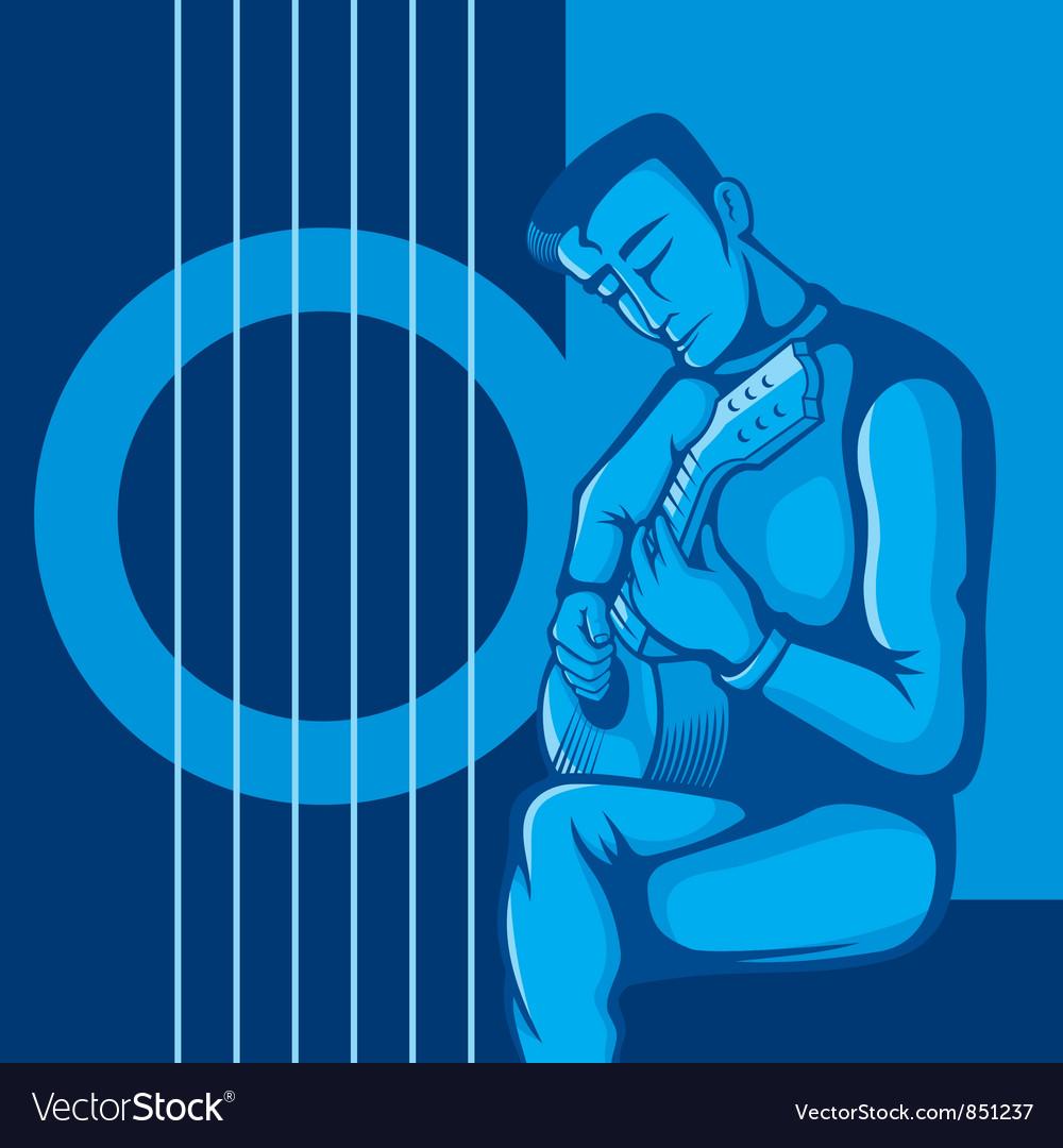 Guitarist blue vector | Price: 1 Credit (USD $1)