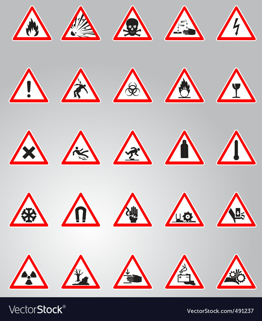 Hazard signs set vector | Price: 1 Credit (USD $1)