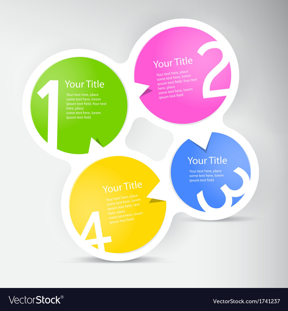 One two three four - progress icons for four steps vector | Price: 1 Credit (USD $1)