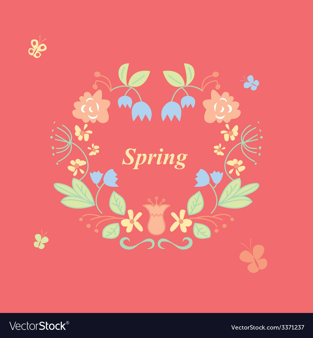 Spring wreath vector | Price: 1 Credit (USD $1)