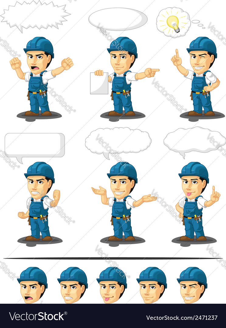 Technician or repairman mascot 17 vector | Price: 1 Credit (USD $1)