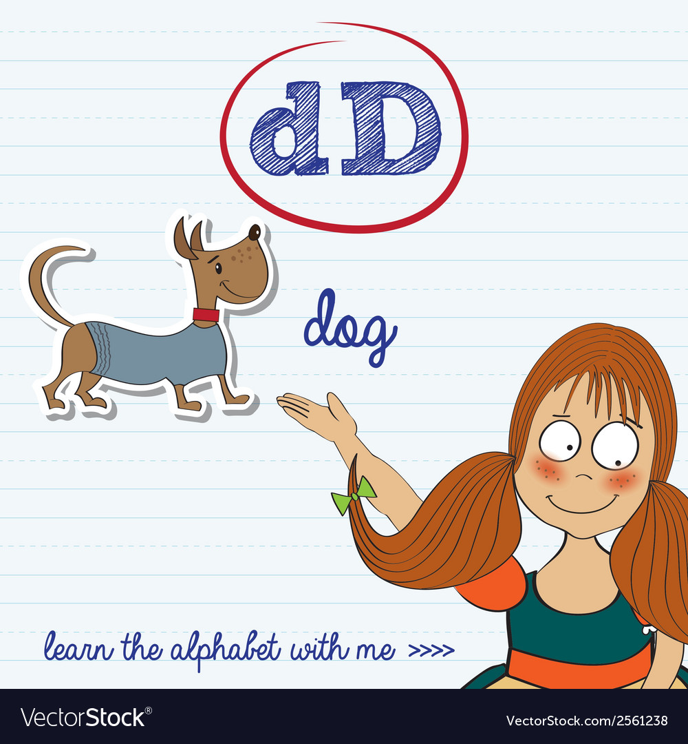 Alphabet worksheet of the letter d vector | Price: 1 Credit (USD $1)