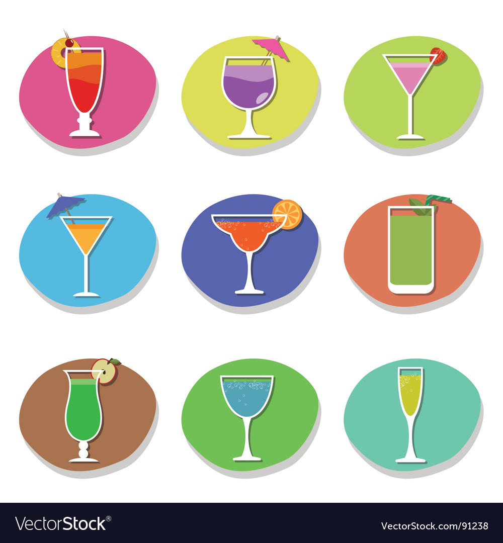 Cocktail icons vector | Price: 1 Credit (USD $1)