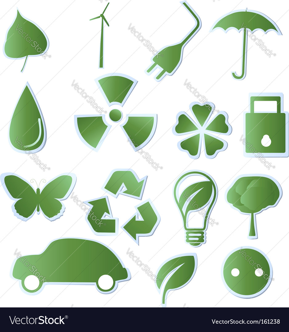 Collection of green eco icons vector | Price: 1 Credit (USD $1)