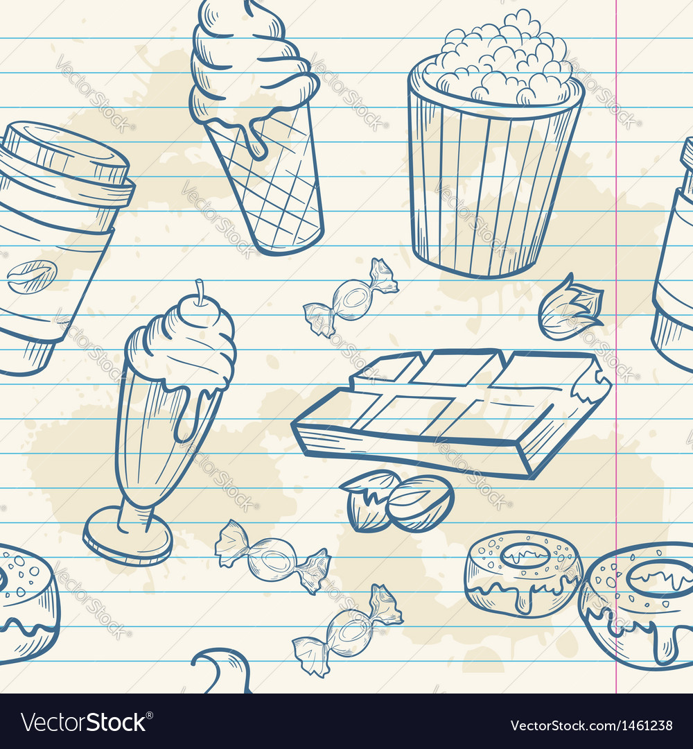 Fastfood sweets delicious seamless pattern vector | Price: 1 Credit (USD $1)