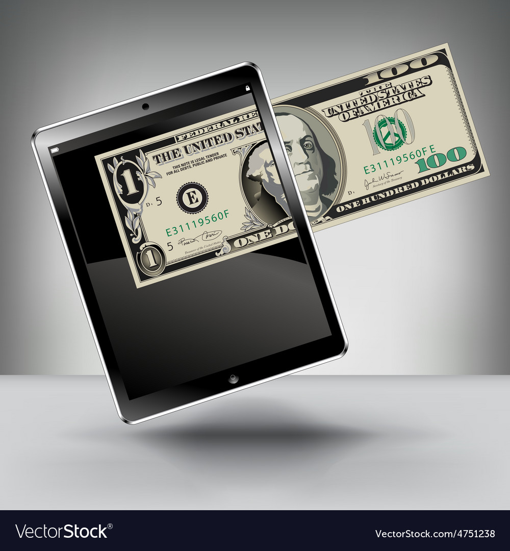 Money with a touch pad vector | Price: 1 Credit (USD $1)