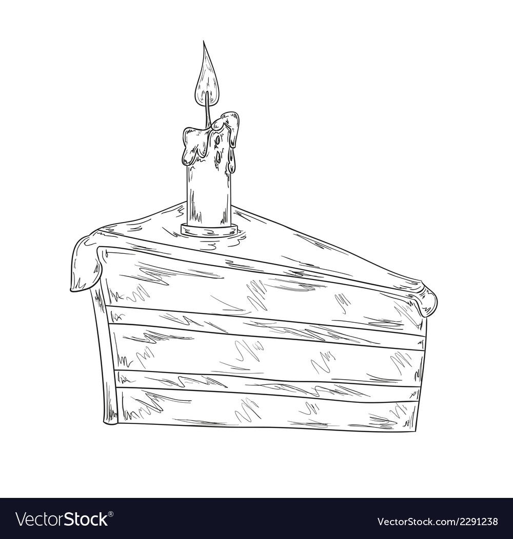 Piece of cake sketch vector | Price: 1 Credit (USD $1)