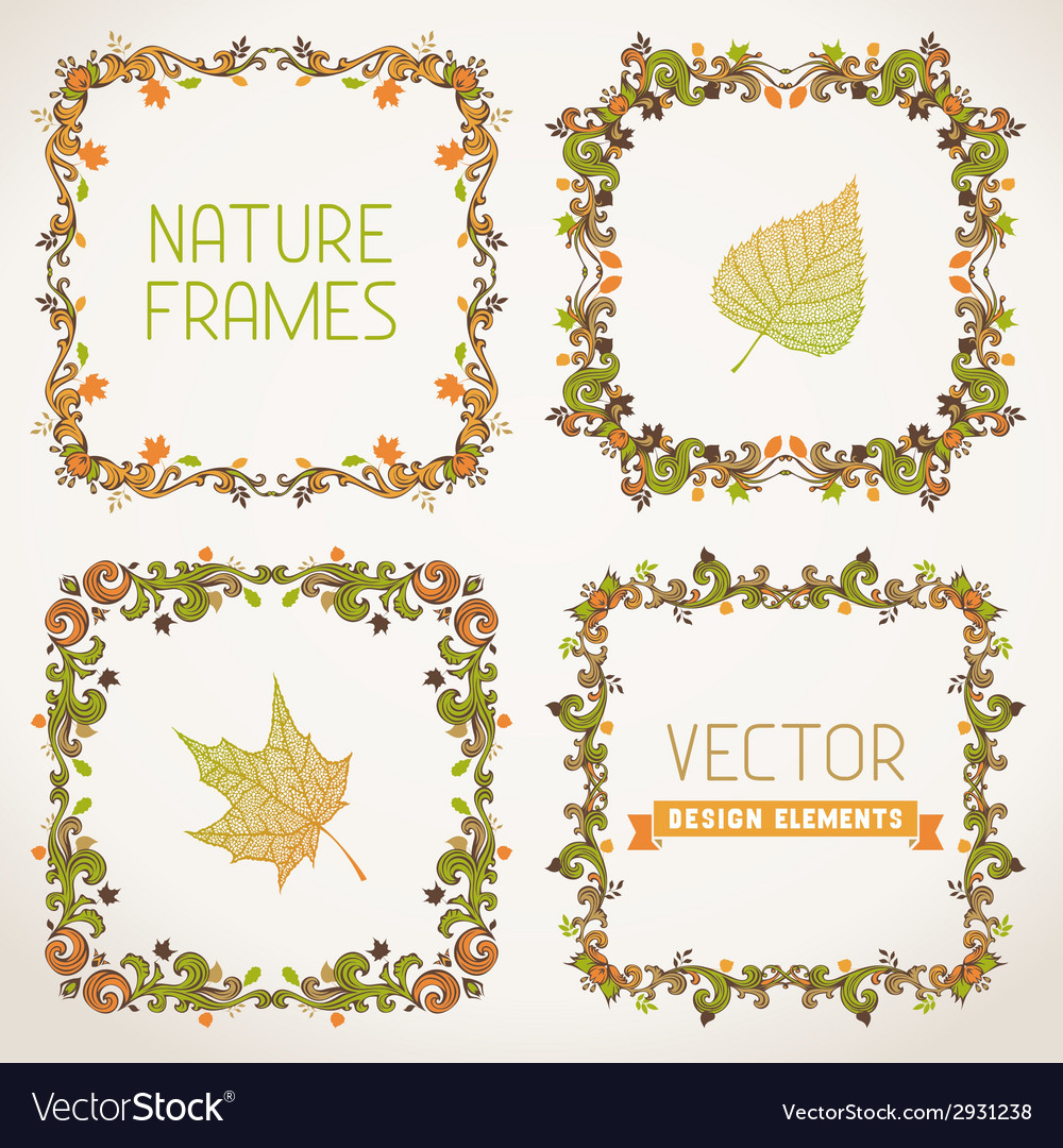 Set of nature calligraphic frames vector | Price: 1 Credit (USD $1)