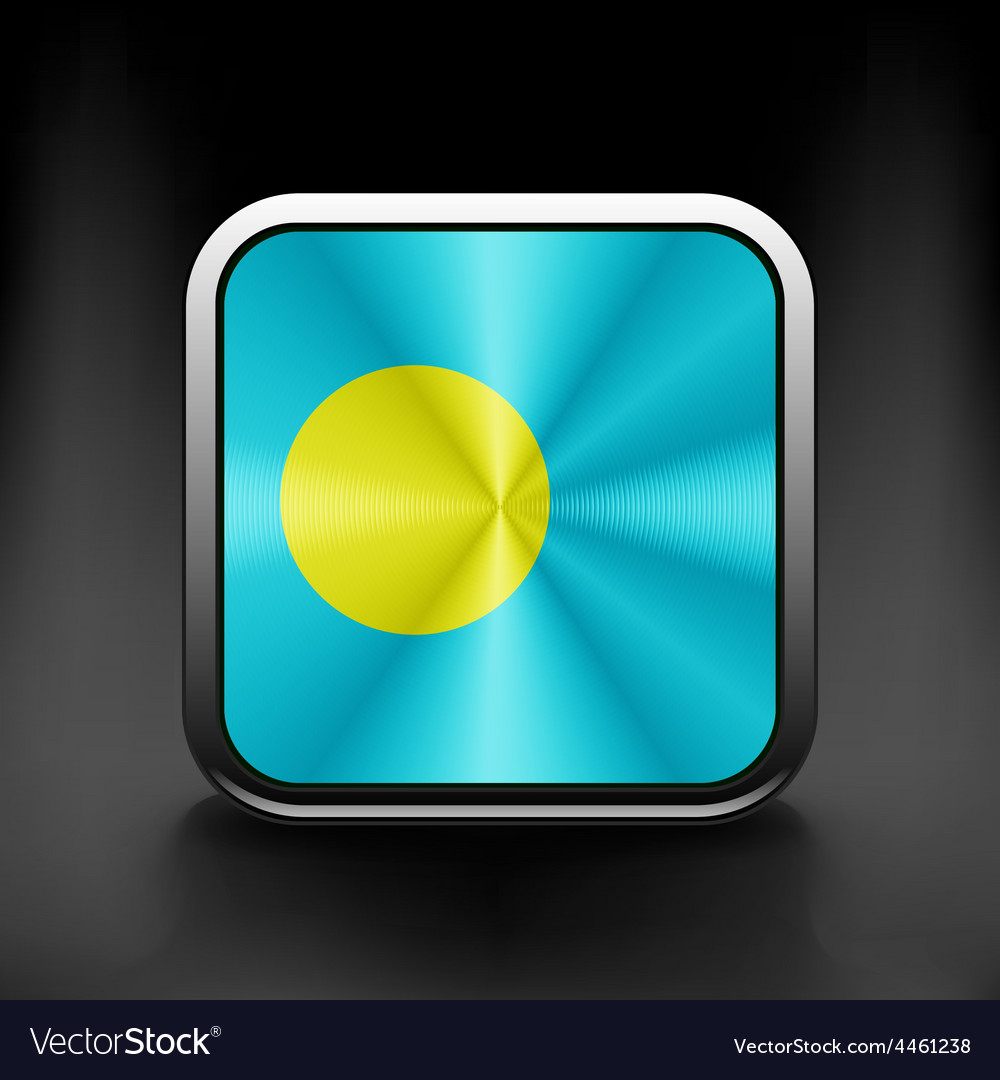 Square icon with flag of palau with reflection vector   Price: 1 Credit (USD $1)