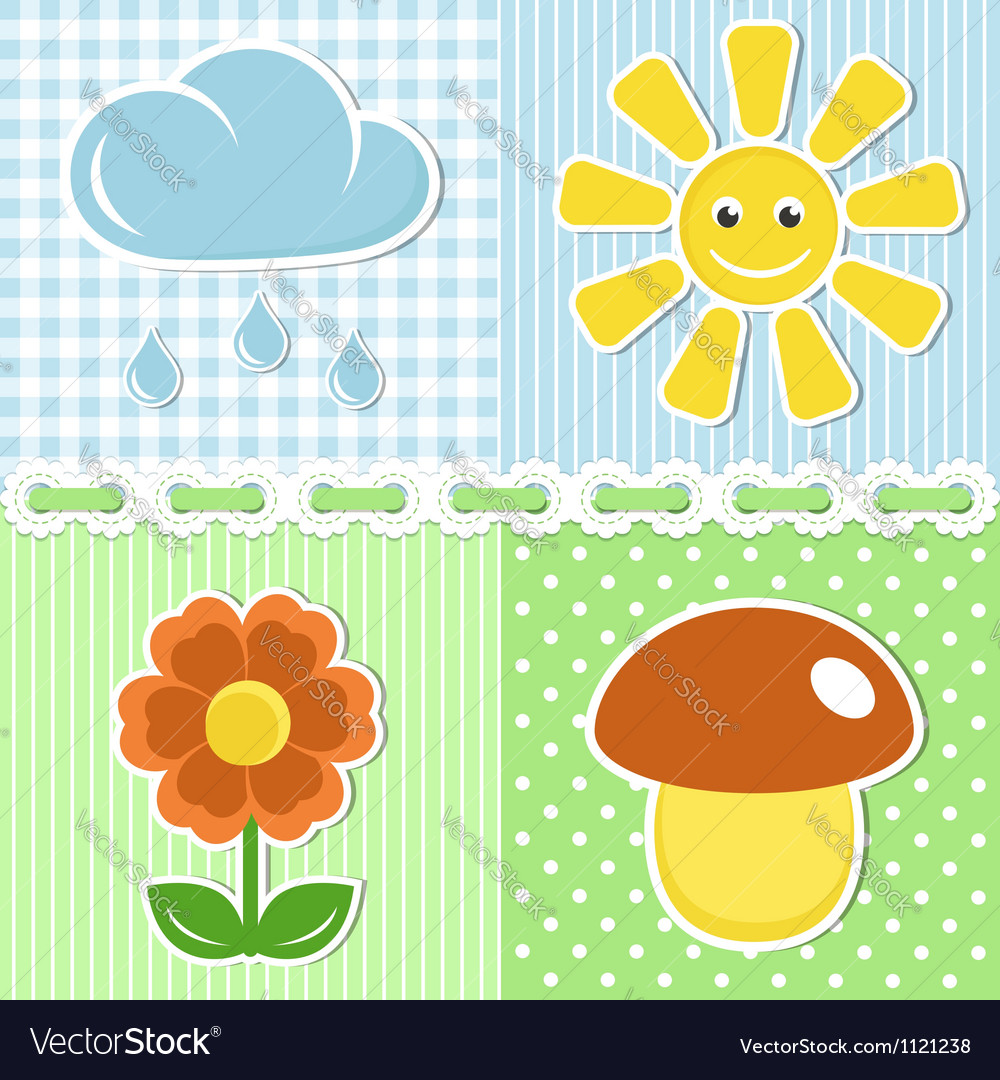 Summer icons on fabric backgrounds vector | Price:  Credit (USD $)