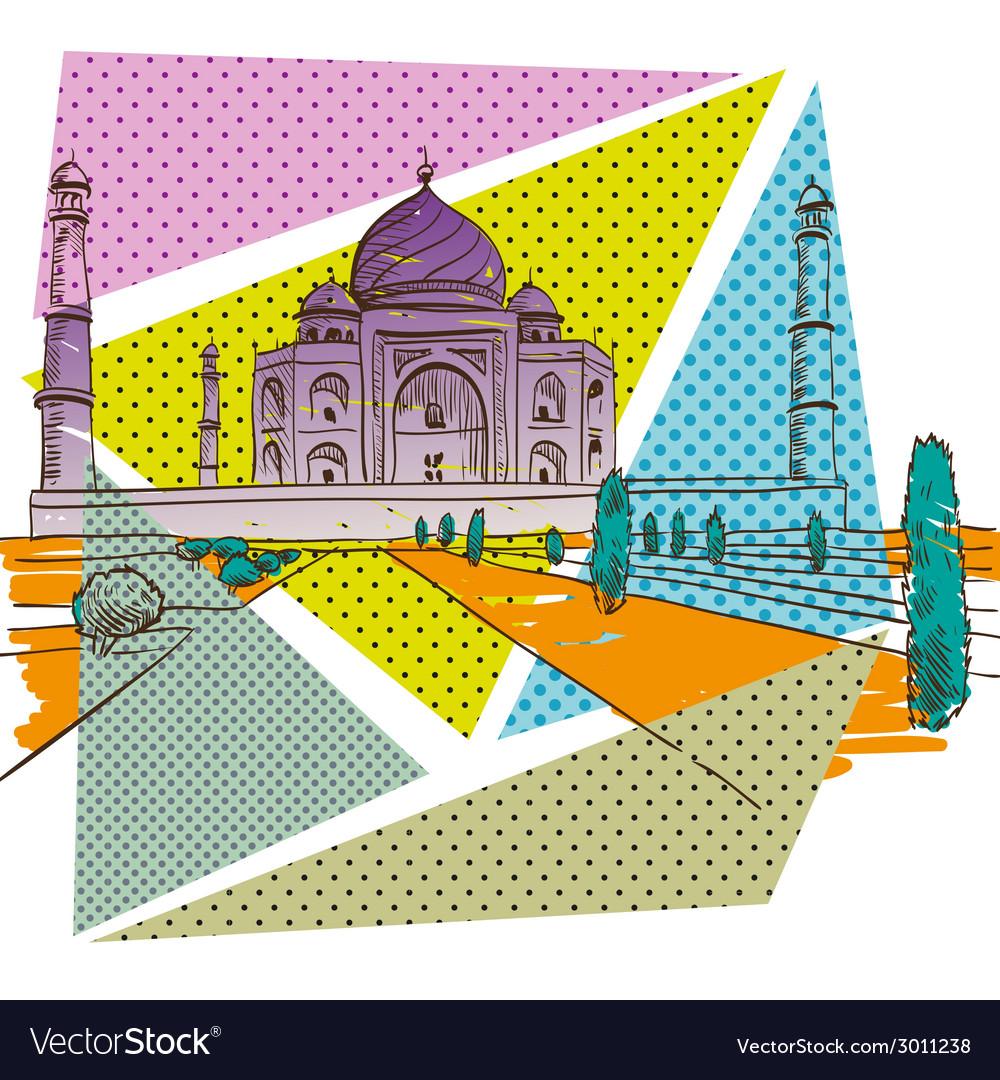 Taj mahal drawing vector | Price: 1 Credit (USD $1)