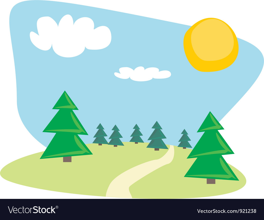 Trees at sunny blue sky day vector | Price: 1 Credit (USD $1)
