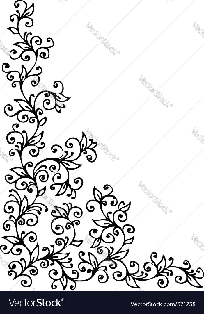Vintage floral vignette vector | Price: 1 Credit (USD $1)
