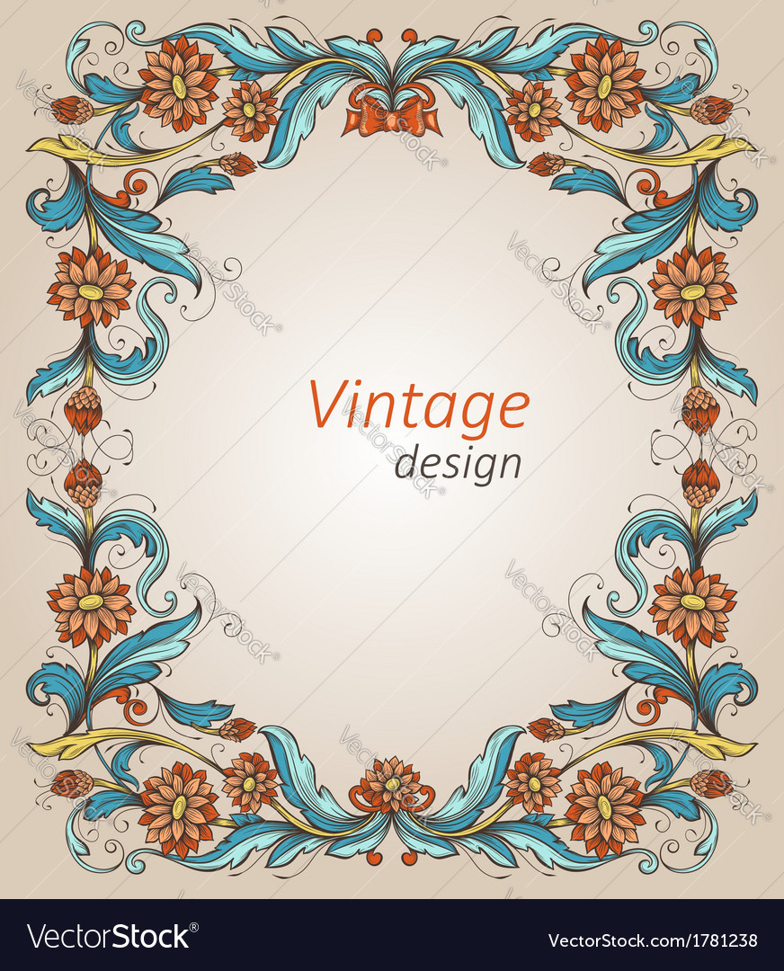 Vintage frame with decorative flowers vector | Price: 1 Credit (USD $1)