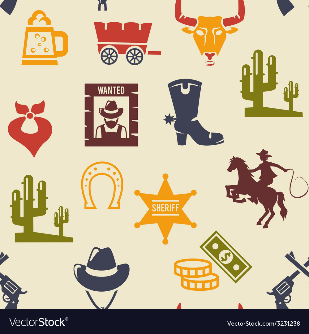 Western and rodeo seamless background pattern vector | Price: 1 Credit (USD $1)