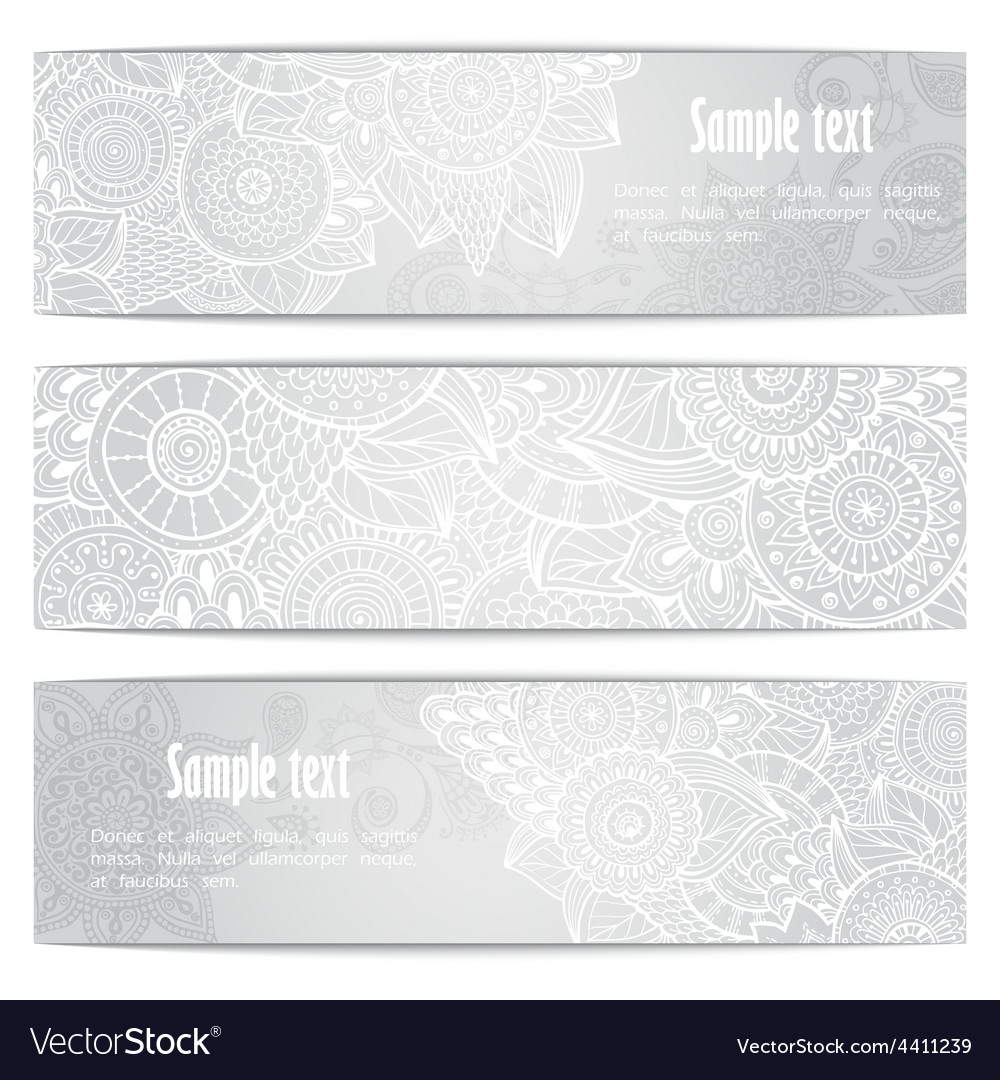 Abstract hand drawn ethnic pattern card set vector | Price: 1 Credit (USD $1)