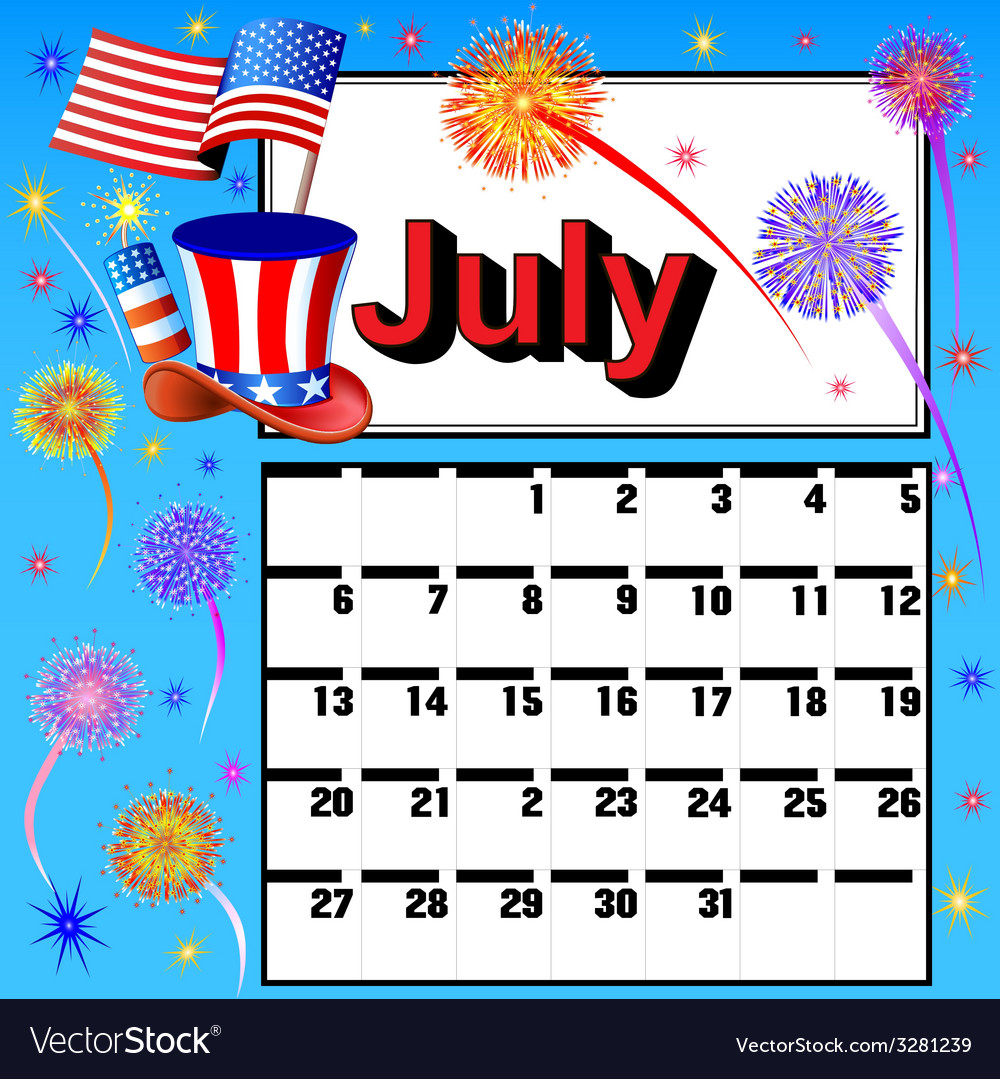 Calendar for july independence day vector | Price: 1 Credit (USD $1)