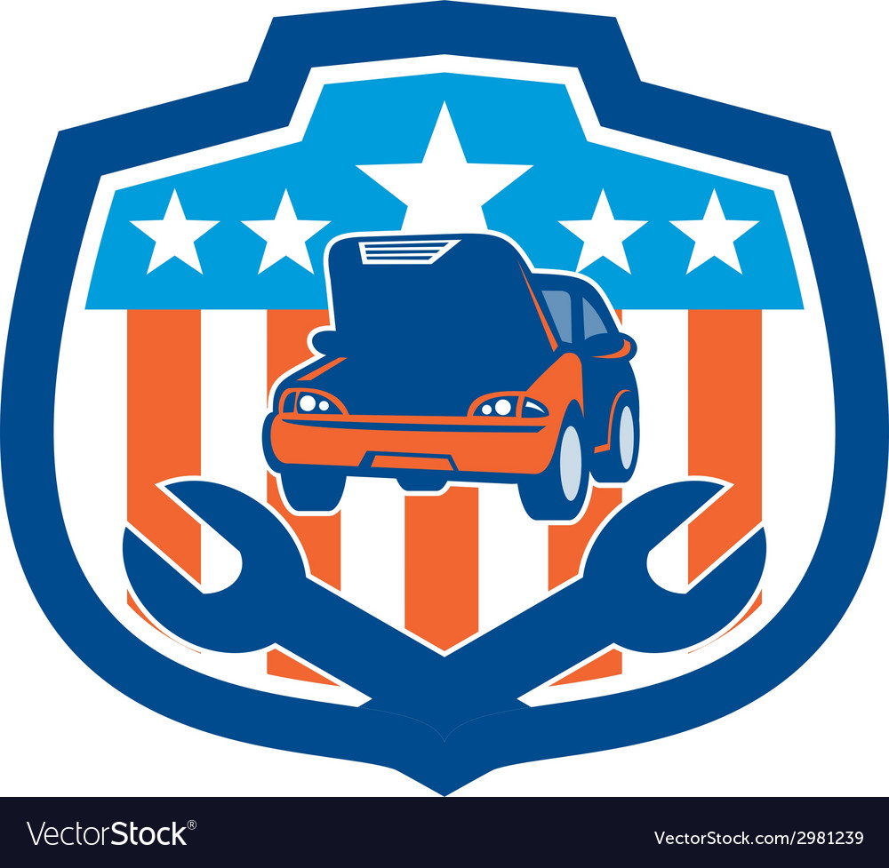 Car repair spanner shield retro vector | Price: 1 Credit (USD $1)