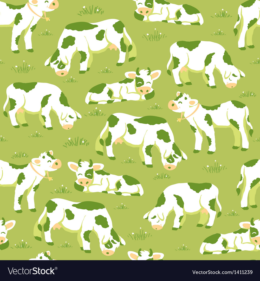 Cows on the field seamless pattern background vector | Price: 1 Credit (USD $1)