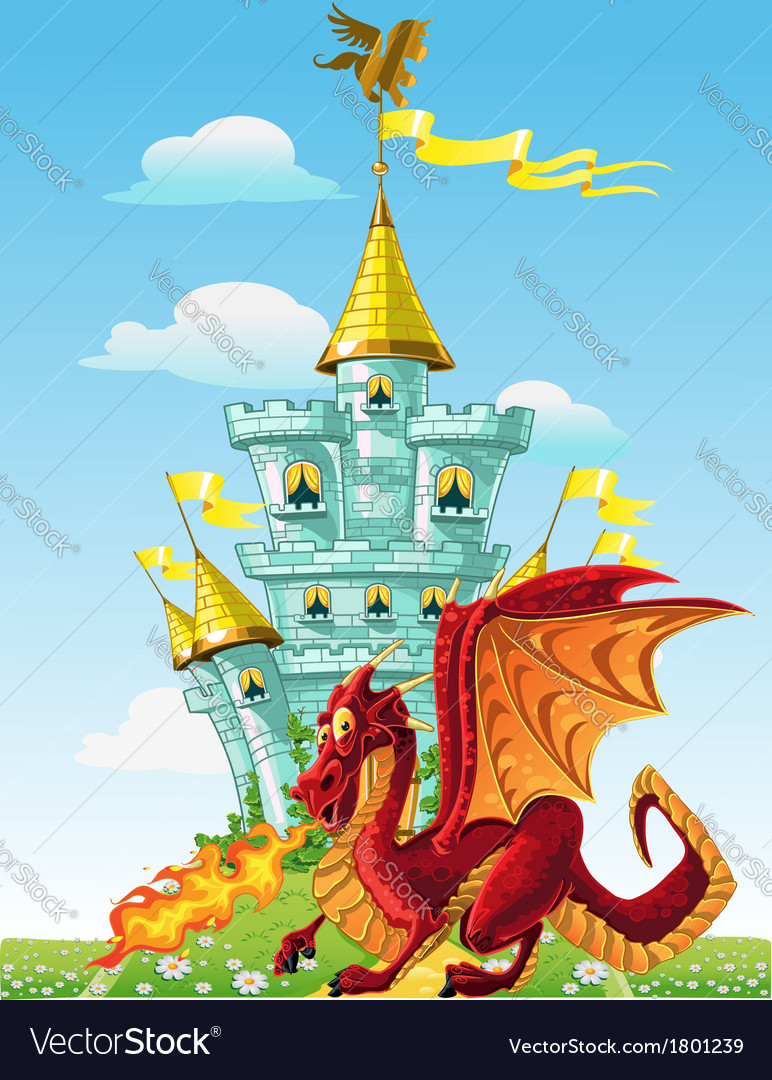 Magical fairytale red dragon near the blue magic vector | Price: 3 Credit (USD $3)