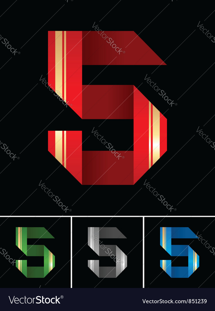 Numeral of paper tape - 5 vector | Price: 1 Credit (USD $1)