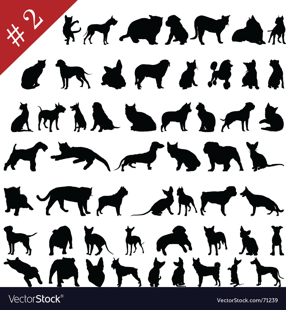 Pets silhouettes vector