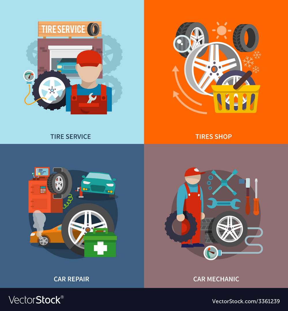 Tire service icon flat vector | Price: 1 Credit (USD $1)