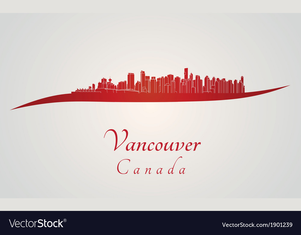 Vancouver skyline in red vector | Price: 1 Credit (USD $1)