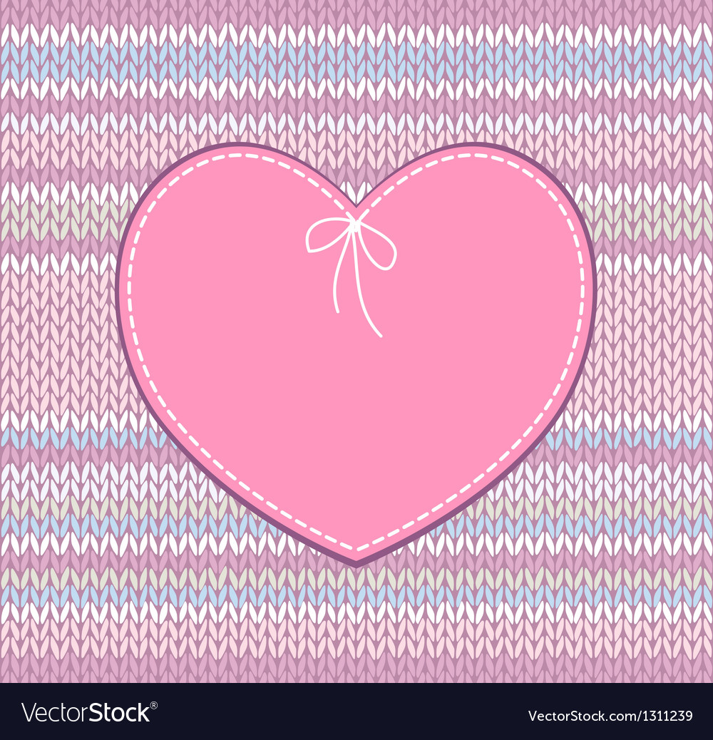 Vintage card heart shape design with knit vector | Price: 1 Credit (USD $1)