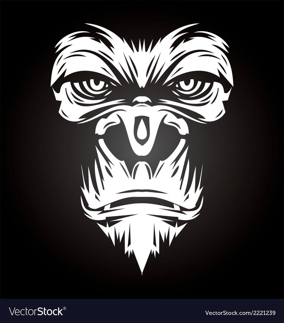 White gorilla face vector | Price: 1 Credit (USD $1)