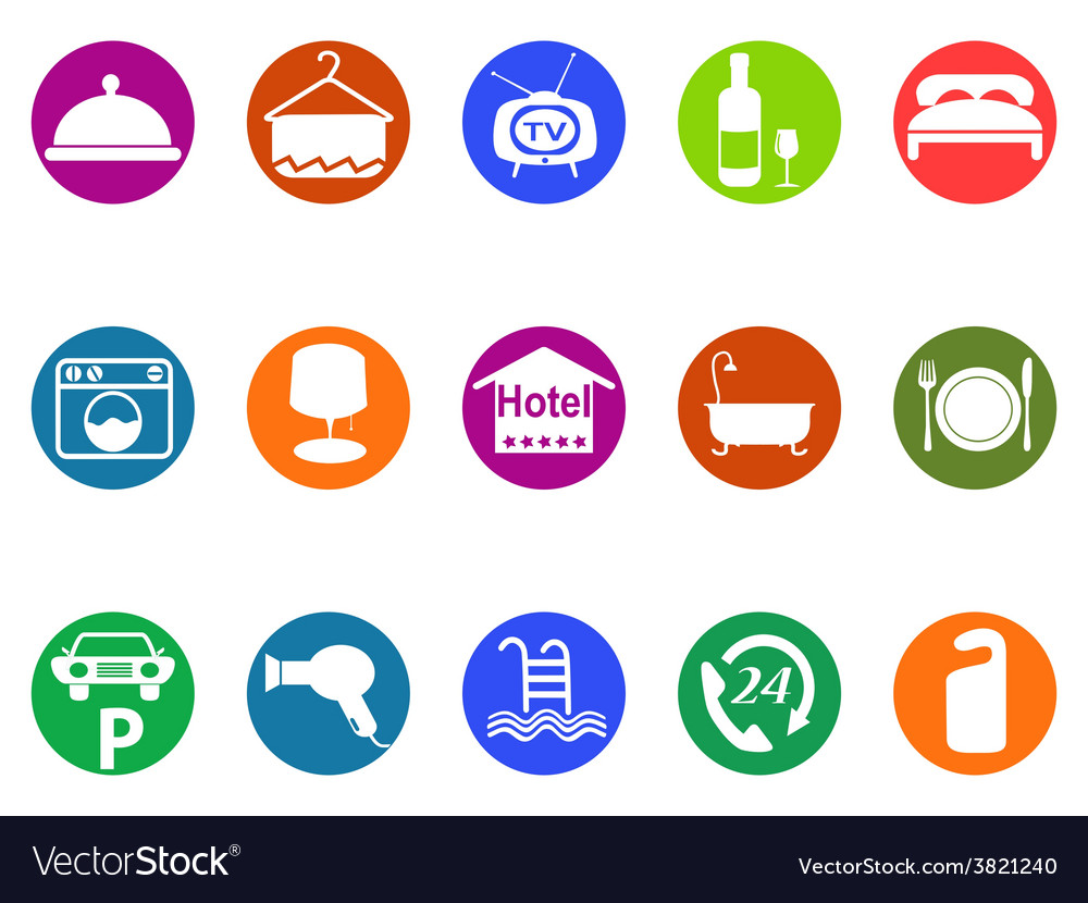 Hotel buttons icon set vector