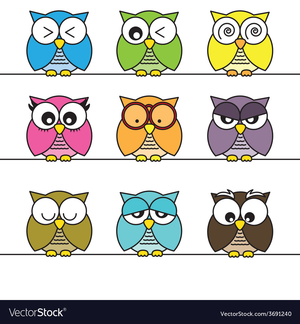 Owls icons vector | Price: 1 Credit (USD $1)