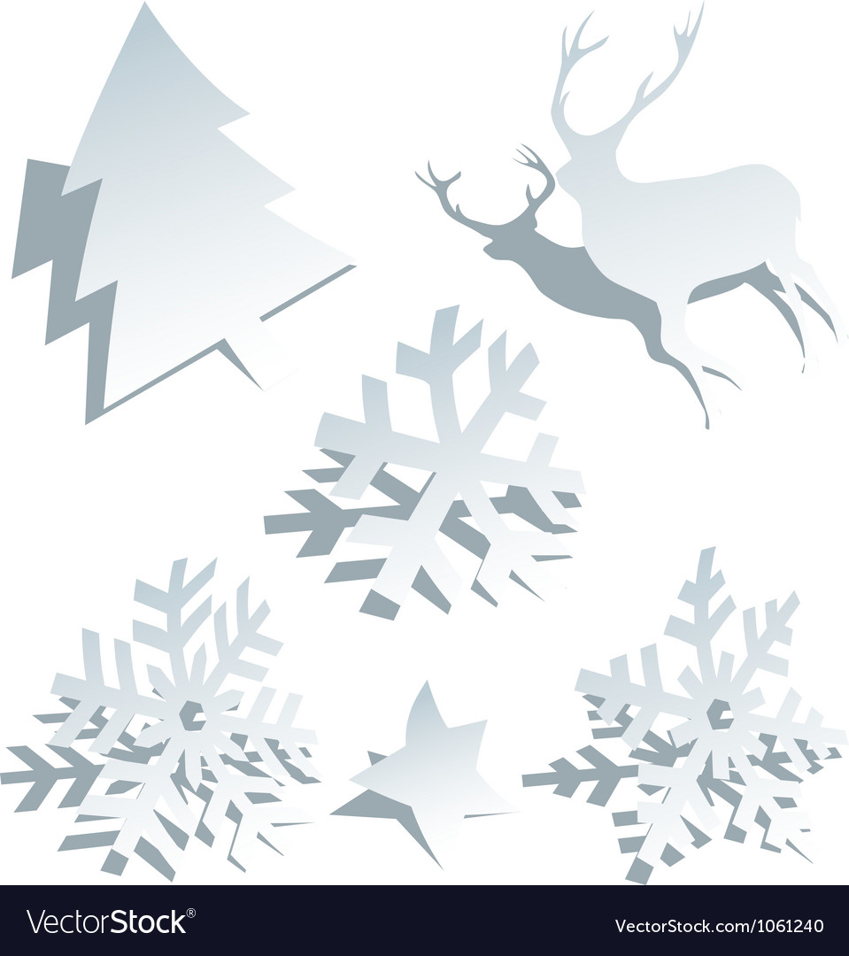 Paper christmas tree snowflakes and deer vector | Price: 1 Credit (USD $1)