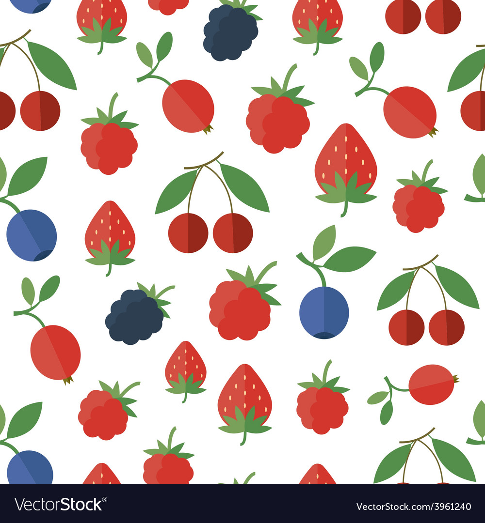 Seamless pattern with berries background vector | Price: 1 Credit (USD $1)