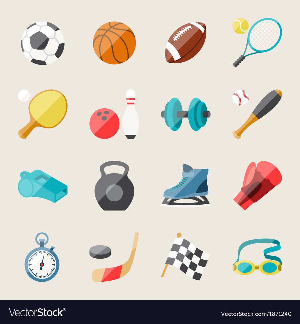 Set of sport icons in flat design style vector | Price: 1 Credit (USD $1)