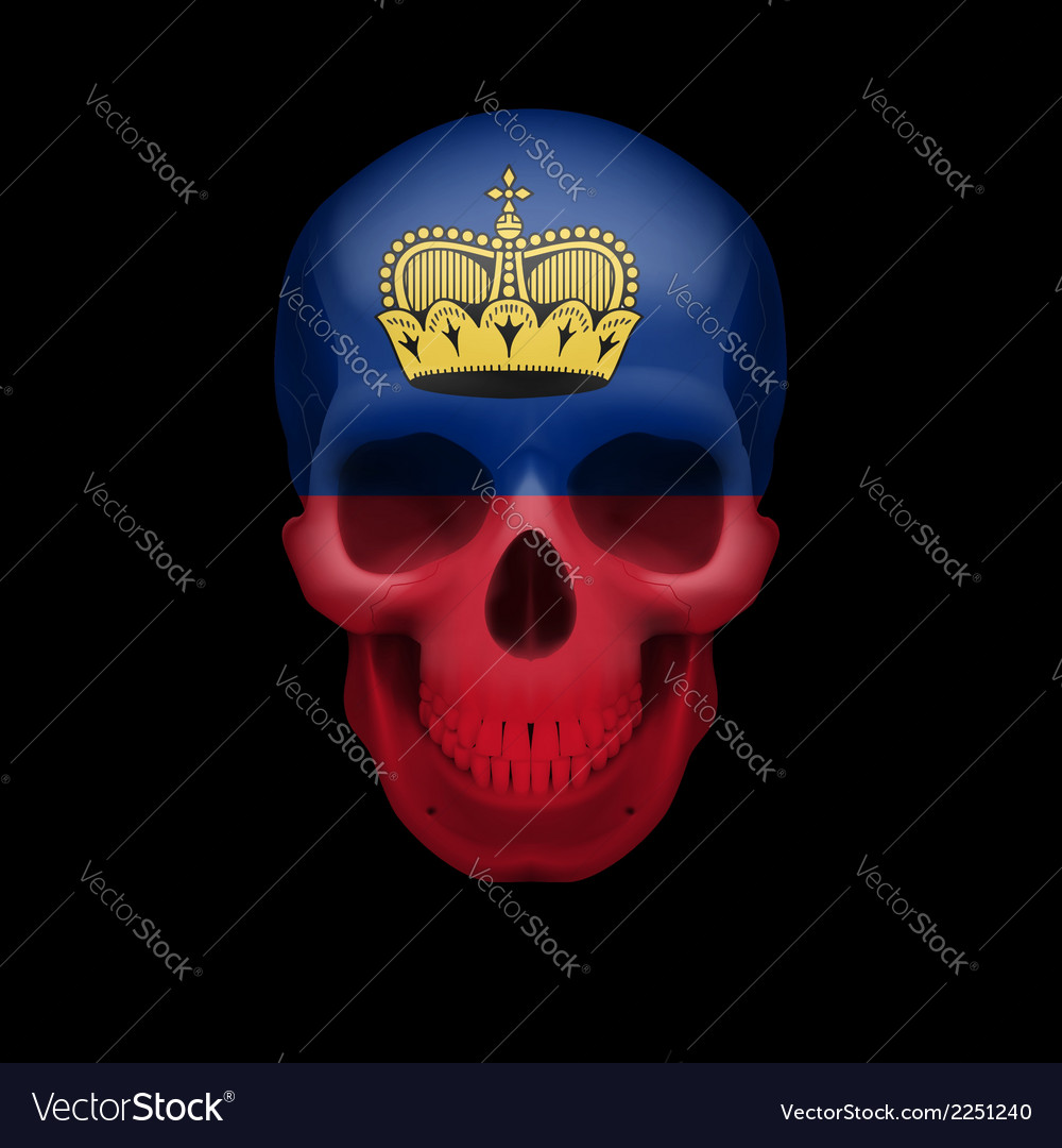 Skull with liechtenstein flag vector | Price: 1 Credit (USD $1)