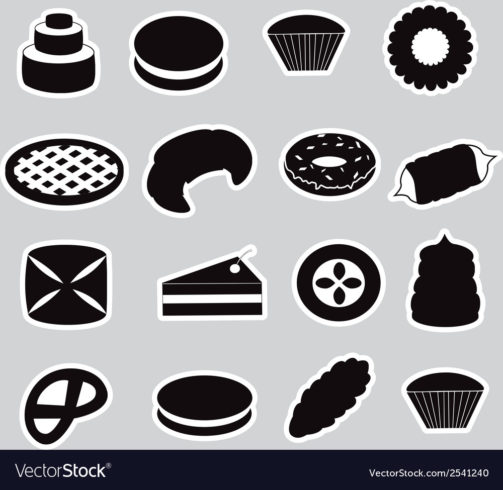 Sweet desserts black stickers eps10 vector | Price: 1 Credit (USD $1)