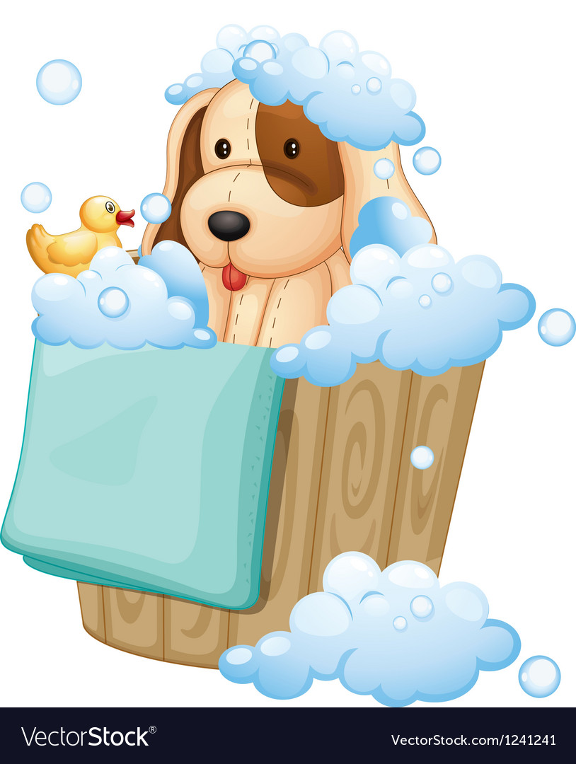 A dog inside a pail full of bubbles vector | Price: 1 Credit (USD $1)
