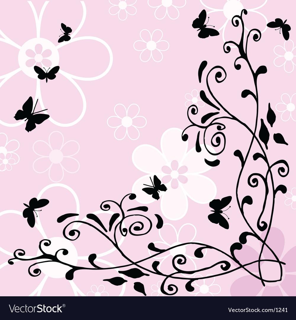 Butterflies flowers vector