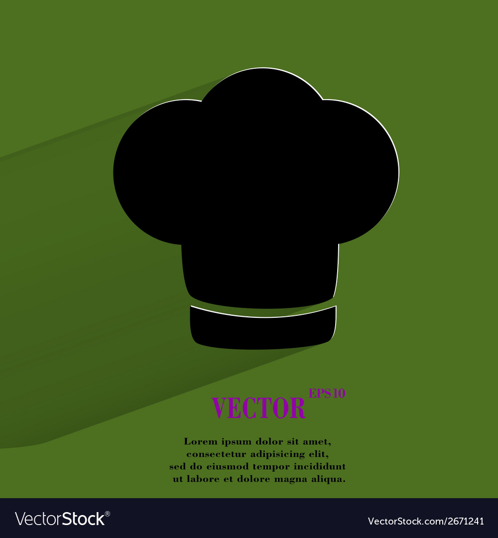 Chef cap cooking flat modern web button with long vector | Price: 1 Credit (USD $1)