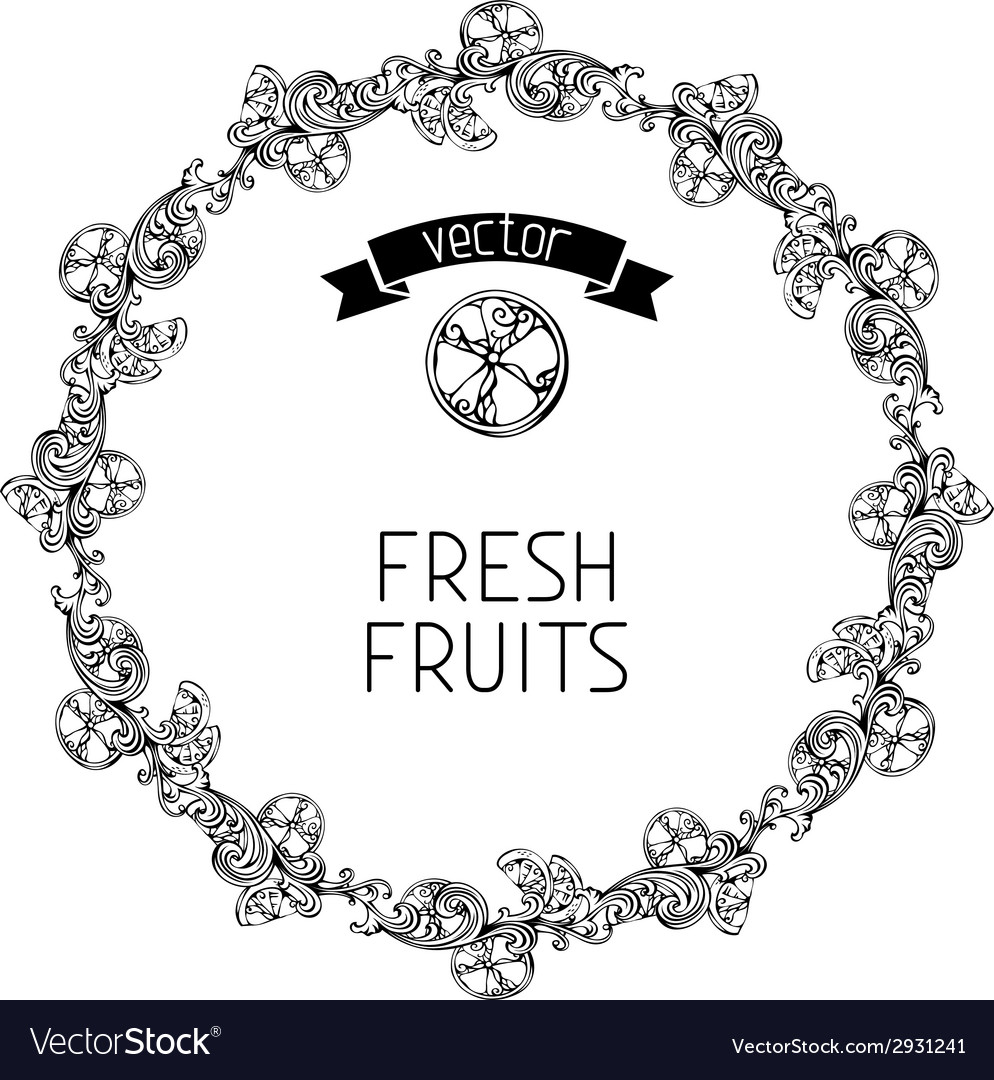 Citrus vintage round frame vector | Price: 1 Credit (USD $1)