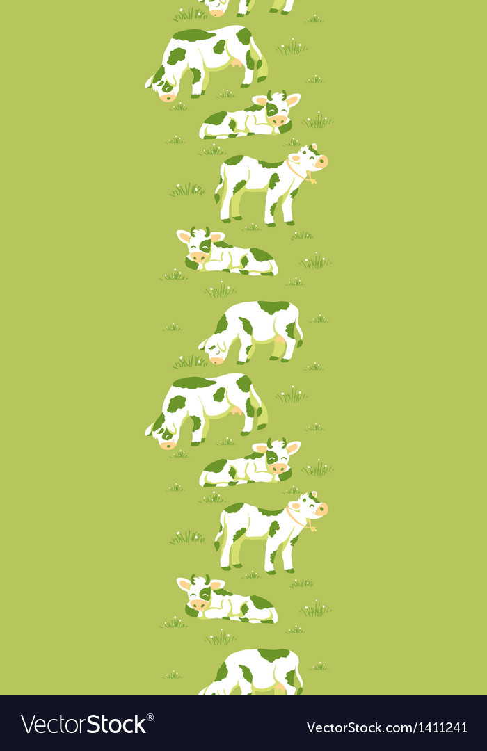 Cows on the field vertical seamless pattern vector | Price: 1 Credit (USD $1)