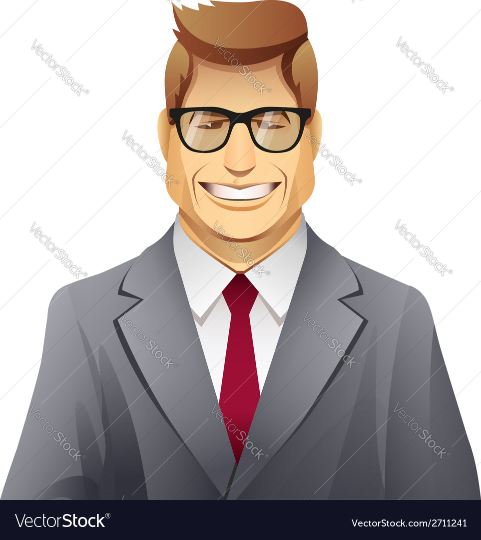 Elegance smiling man with glasses vector | Price: 1 Credit (USD $1)