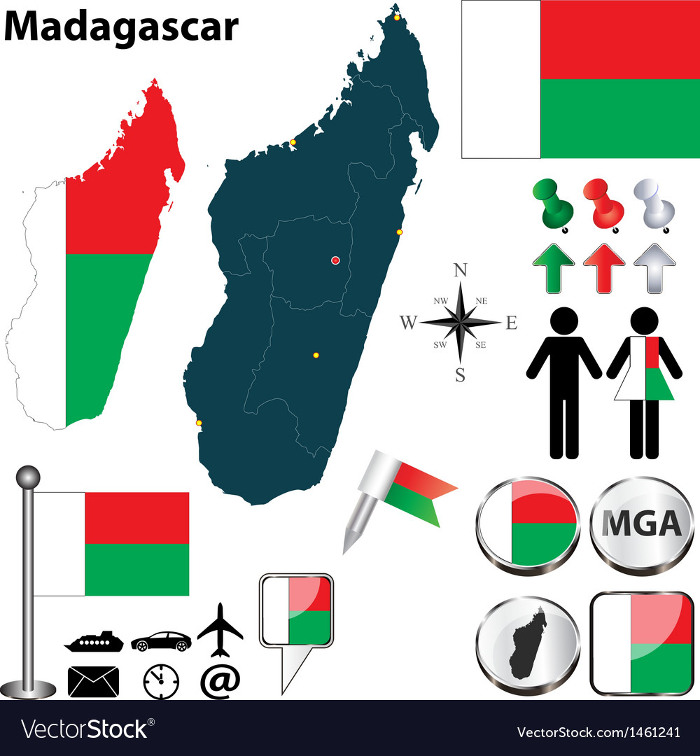 Madagascar map vector | Price: 1 Credit (USD $1)