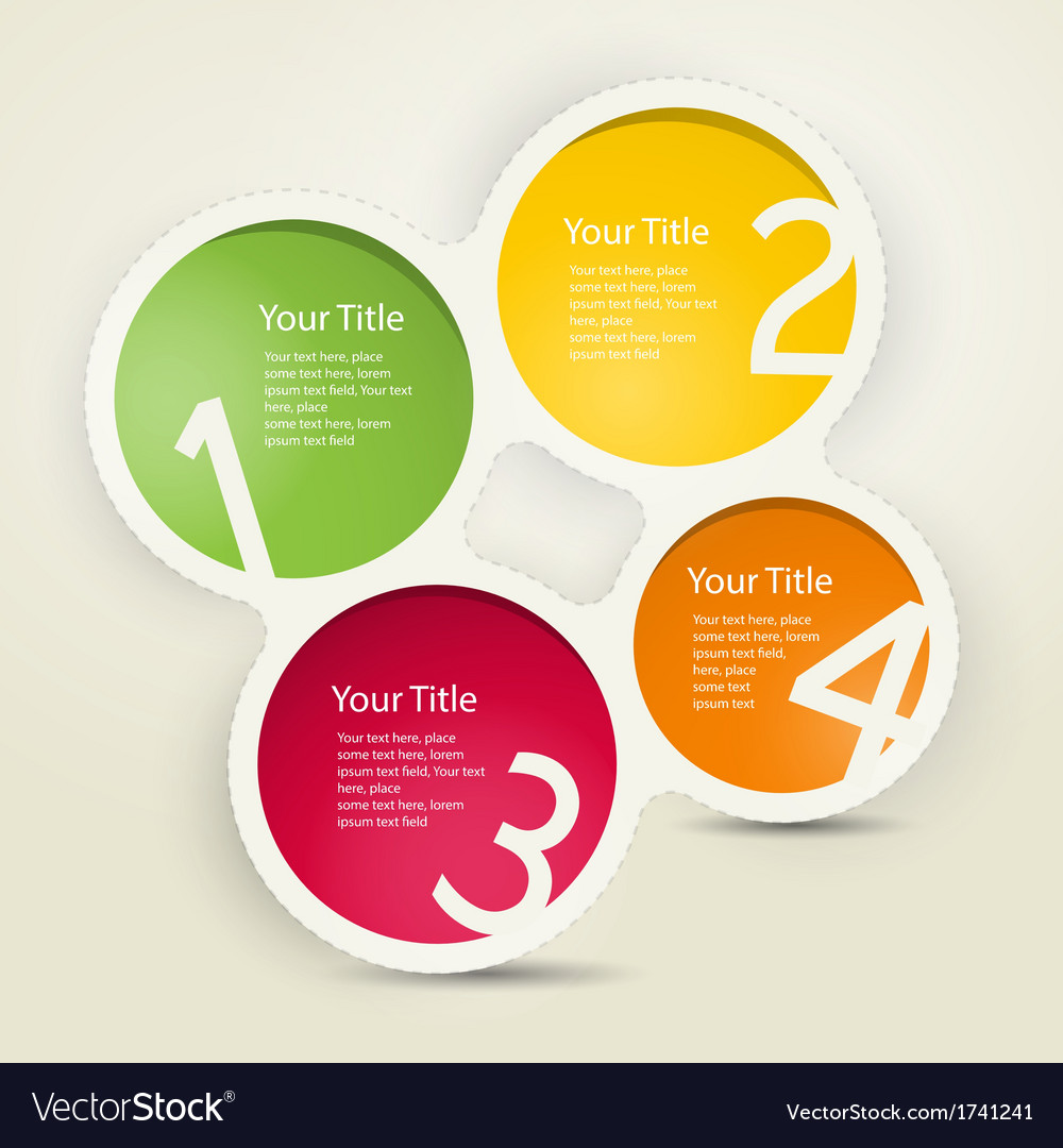 One two three four colorful paper progress steps f vector | Price: 1 Credit (USD $1)
