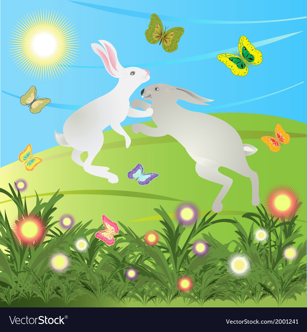 Rabbits are jumping on the meadow in the morning vector | Price: 1 Credit (USD $1)