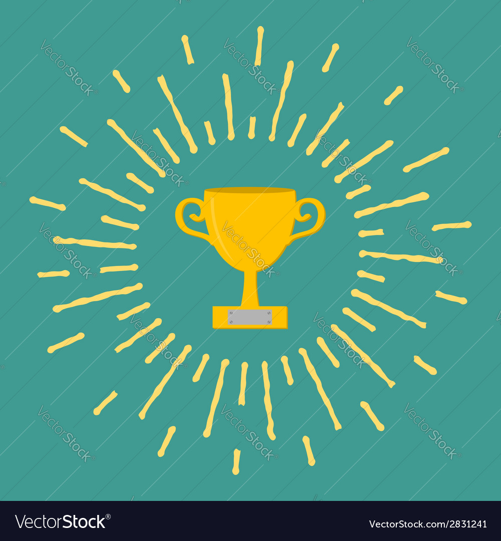 Winner gold cup trophy award symbol in flat design vector | Price: 1 Credit (USD $1)